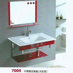 不锈钢支架盆(大红色)