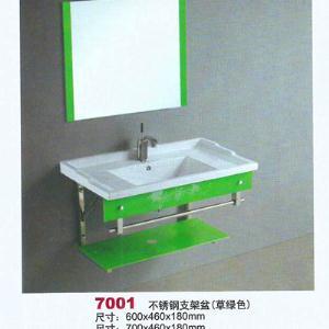 不锈钢支架盆(草绿色)