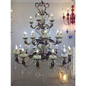 天然玉石三层水晶蜡烛灯