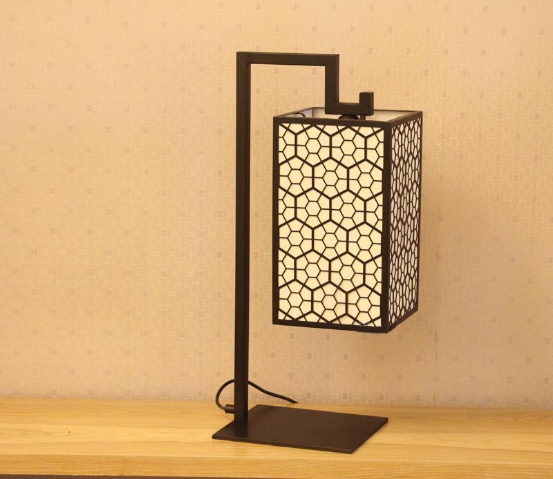现代新中式台灯简约中国风铁艺包边粗麻布艺台灯-成都