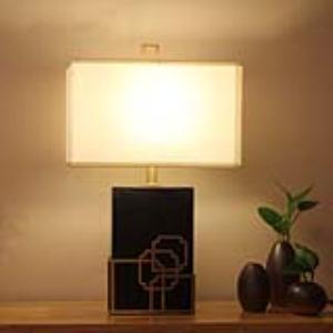 黑色大理石铜件包边简欧美东南亚客厅书房酒店装饰台灯