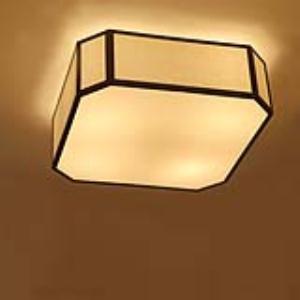 方形吸顶灯铁艺布罩青古铜主次卧室书房客房LED吸顶灯