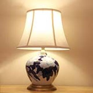 青花瓷古窑布艺全铜北欧陶瓷台灯饰品