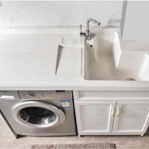 定制洗衣槽(7-20天)铝柜白木纹1.0-1.5米(可切角)